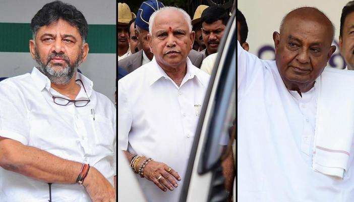 A collage of DK Shivakumar, BS Yediyurappa and HD Devegowda, all dressed in white