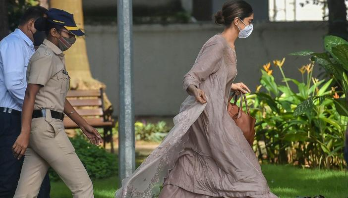 Deepika Padukone arrives for questioning in Bollywood drugs case at Evelyn resort