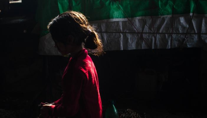 Silhoutte of a girl child in a red dress with her hair in a ponytail
