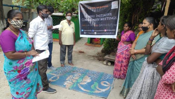 Hakku initiative team speaking to the residents about the issues of the people