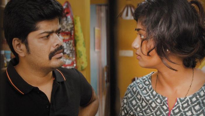 Still from the film Ikkat featuring Bhoomi Shetty and Nagabhushana