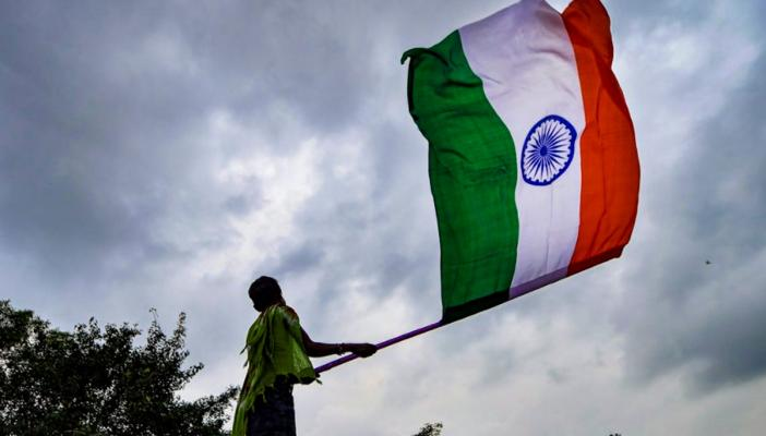 File photo of a person waving the Indian flag