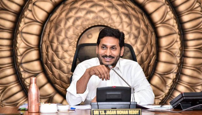 Andhra Pradesh Chief Minister YS Jagan Mohan Reddy in a meeting with his council of ministers at the Secretariat in Amaravati