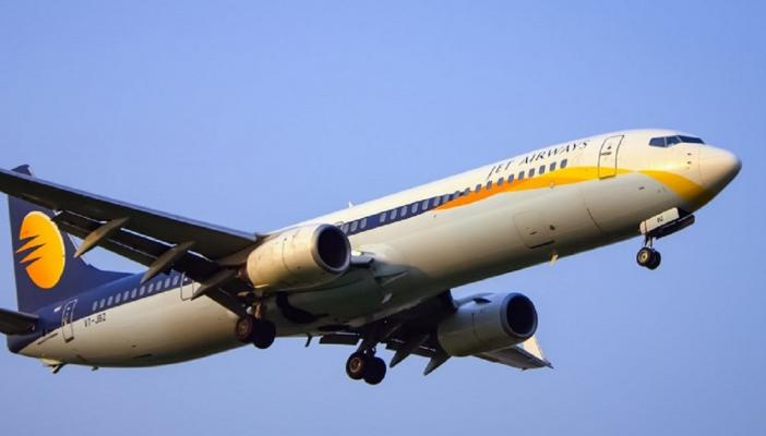 A Jet Airways plane in the skies