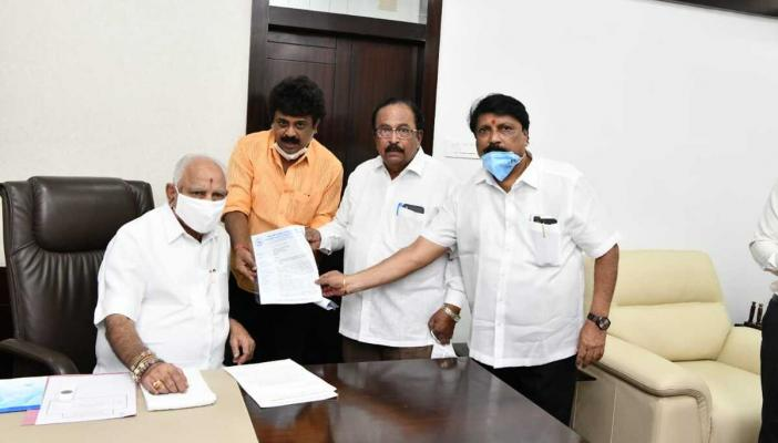 KFCC members meet outgoing CM BS Yediyurappa in his office, hand him the letter
