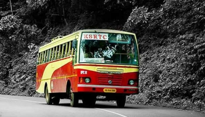 A stylized image of KSRTC bus