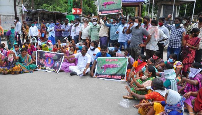 People in Koppole village protesting police negligence in case of Dalit girl's murder