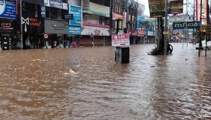 A market area in Kanjirappally in Kottayam flooded