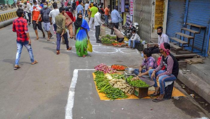 Image of a market during the lockdown in India