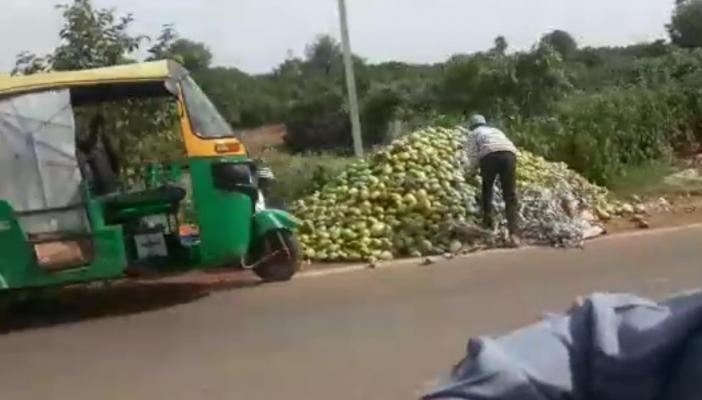 A mango grower dumping his produce of mangoes by a road in Kolar's Srinivasapura