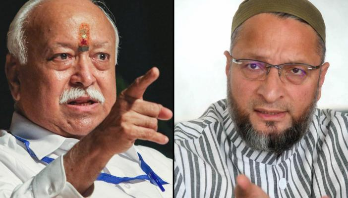 A collage of Owaisi and Mohan Bhagwat