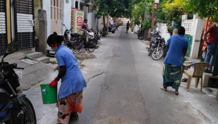Municipal workers at work in Vijayawada