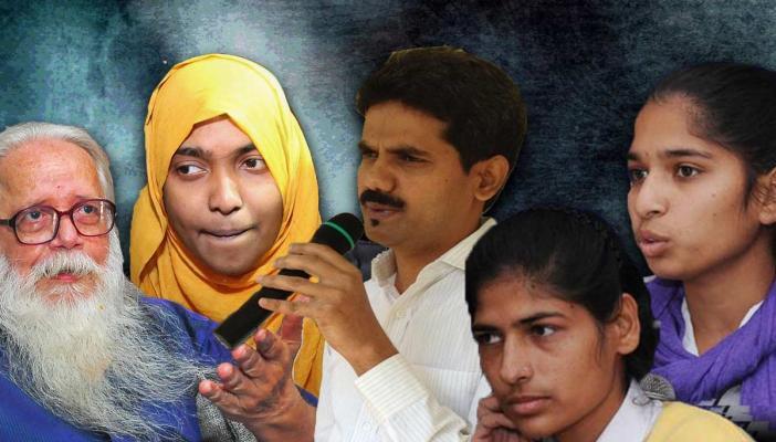 A collage that shows ISRO scientist Nambi Narayanan, Hadiya shefin, DK Ravi IAS and Rohtak sisters
