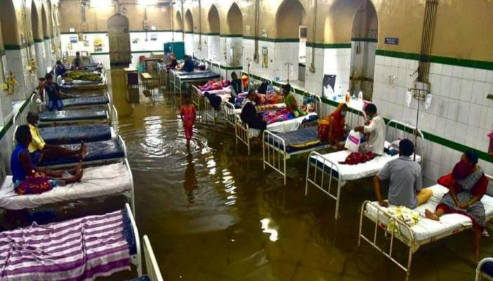 Water inundated in inpatient ward of Hyderabad's Osmania General Hopsital (OGH) on Wednesday