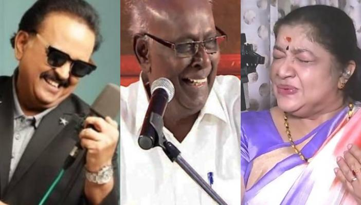 SP Balasubramiam, Solomon Pappiah and KS Chitra in a collage image