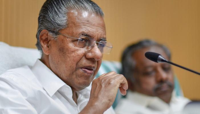 Pinarayi Vijayan speaking on mic
