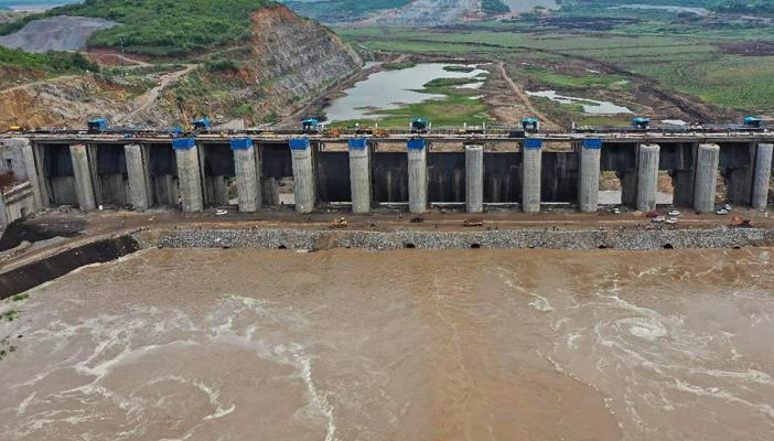 Water being released to delta through the Polavaram project spillway in West Godavari district of Andhra Pradesh in June 2021