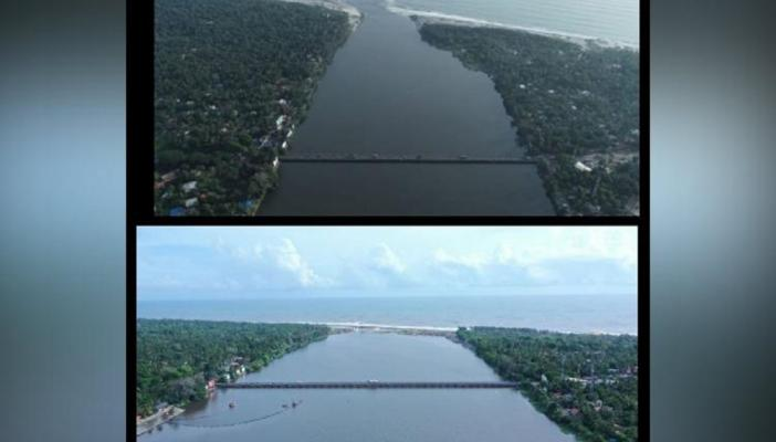 Two pictures placed one below another, of River pampa flowing between stretches of land. In the top picture, the gap is smaller, in the bottom picture the gap between lands is wider