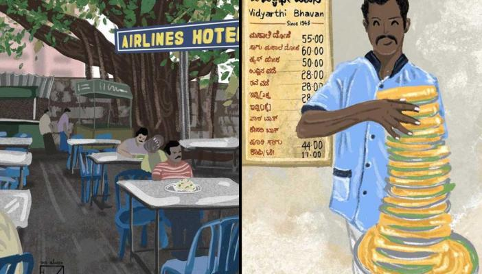 Two illustrations of scenes in Bengaluru by Sangeetha Alwar