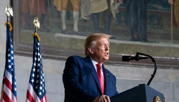 US President Donald Trump during an address on September 18