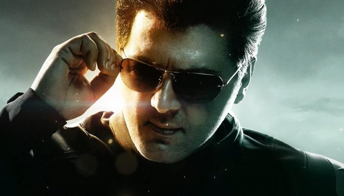 Ajith wearing a leather jacket adjusting his shades in the motion poster of Valimai