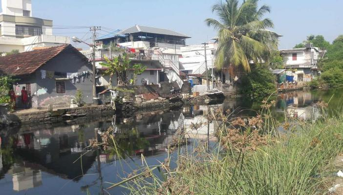 Houses on the banks of a canal in Kochi